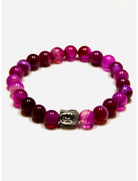 PINK AGATE AND SILVER BUDDHA